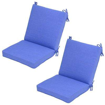 Periwinkle Mid-Back Outdoor Dining Chair Cushion (2-Pack)
