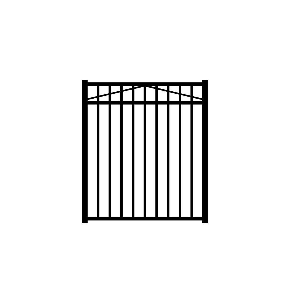 Jerith Jefferson 4 ft. W x 4.5 ft. H Black Aluminum 3-Rail Fence Gate