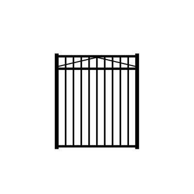 Jefferson 4 ft. W x 4.5 ft. H Black Aluminum 3-Rail Fence Gate