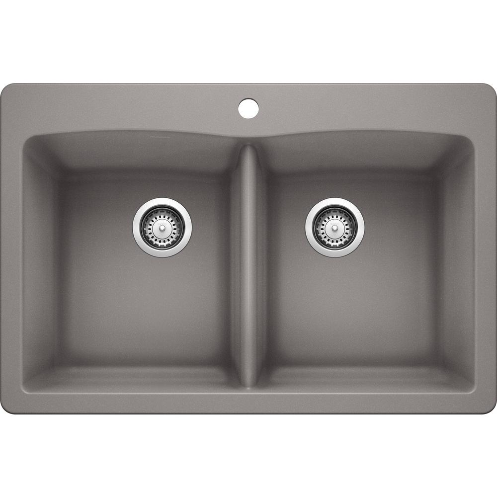 Blanco DIAMOND Dual-Mount Granite Composite 33 in. 1-Hole 50/50 Double Bowl  Kitchen Sink in Metallic Gray