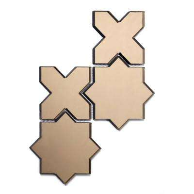 Reflections Gold Beveled Celestial Mosaic 6 in. x 6 in. Glass Mirror Mesh Mounted Wall Tile (0.51 Sq. ft.)