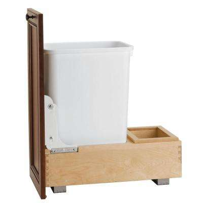19.25 in. H x 11.625 in. W x 21.875 in. D Single 35 Qt. Pull-Out Bottom Mount Wood and White Waste Container