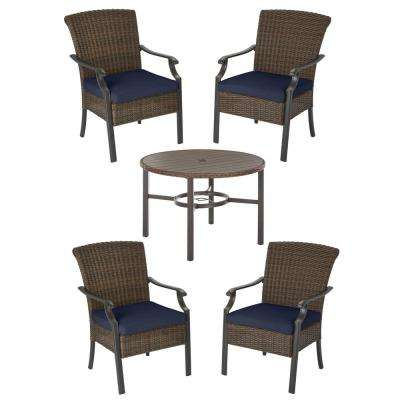 Harper Creek Brown 5-Piece Steel Outdoor Patio Dining Set with CushionGuard Midnight Navy Blue Cushions