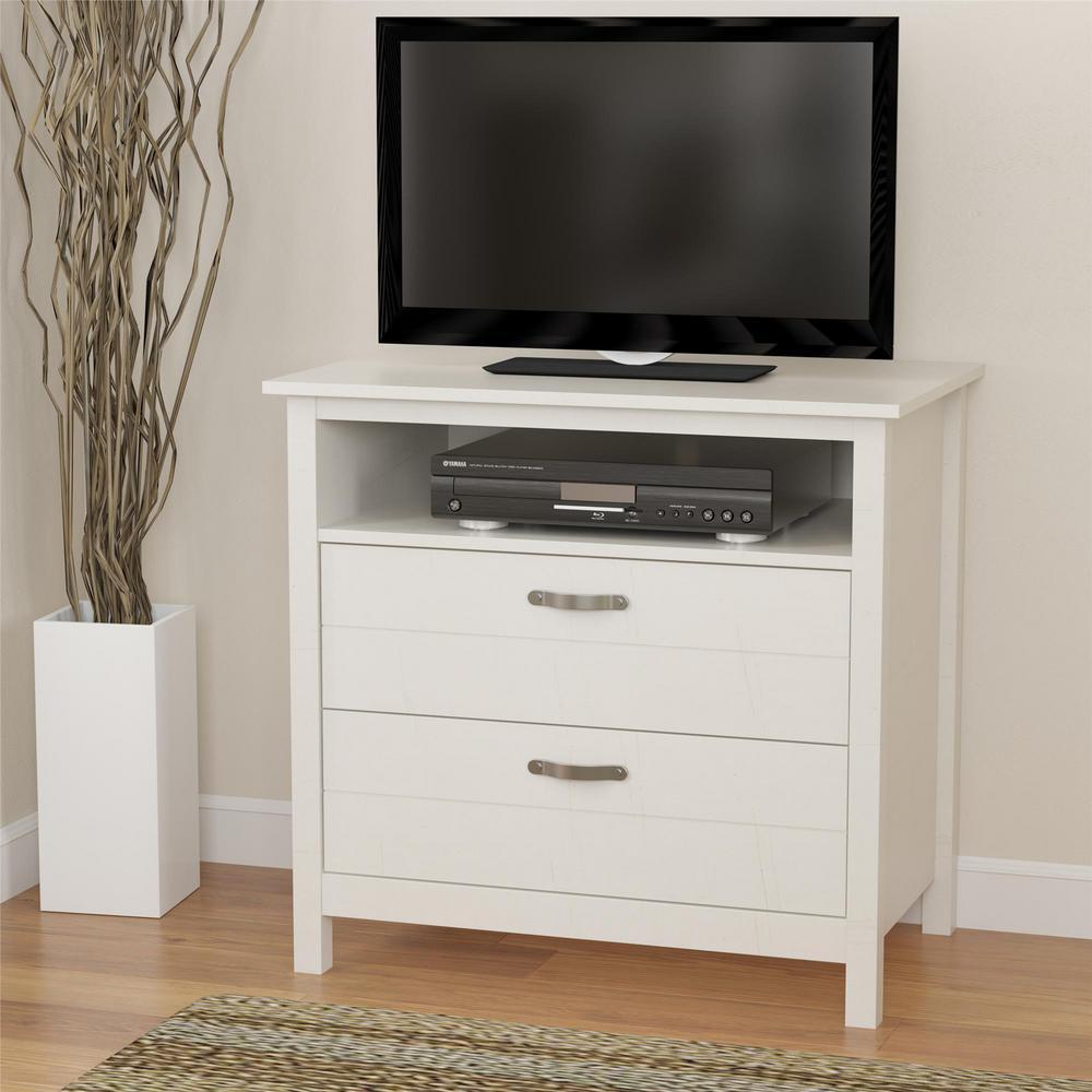 4 Ameriwood River Layne 2 Drawer Ivory Media Dresser