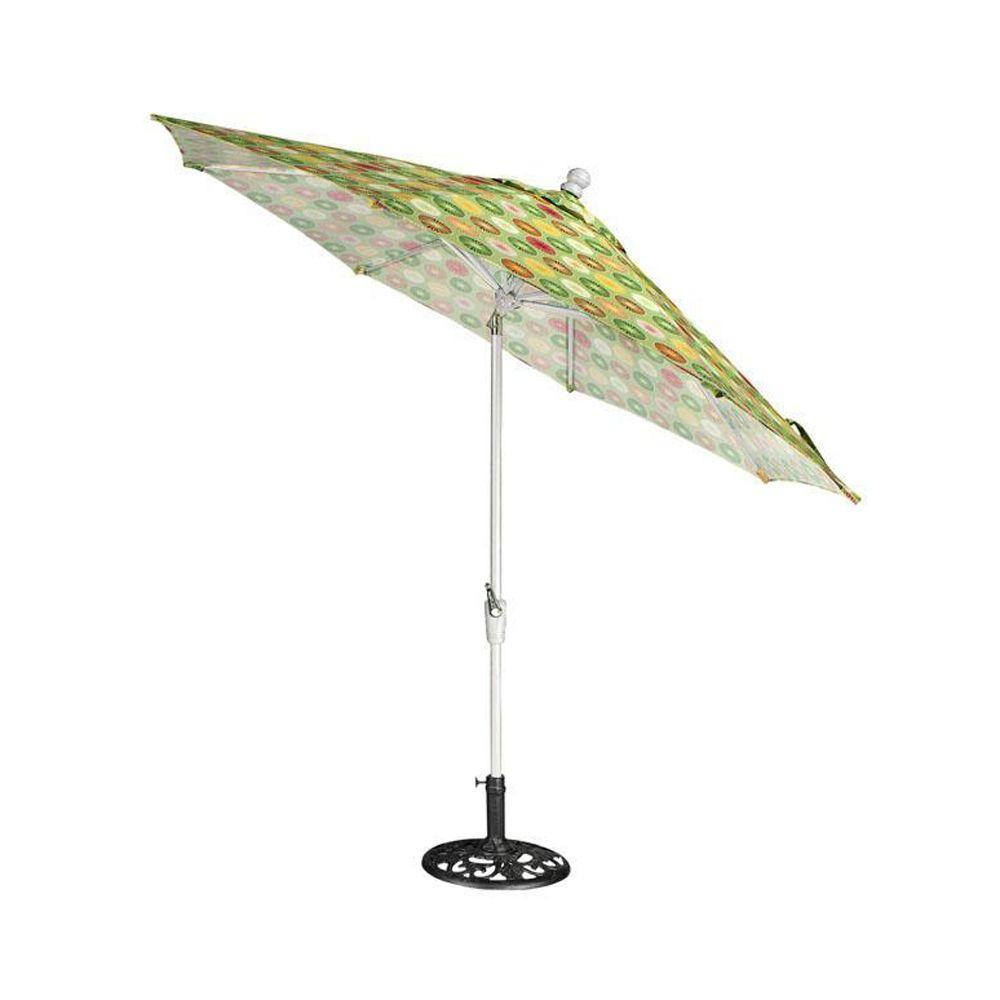 Home Decorators Collection 6 ft. Auto-Crank Tilt Patio Umbrella in Berringer Spring