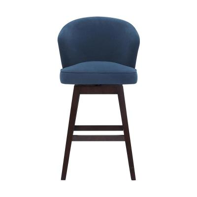 Ingram Upholstered Swivel Bar Stool with Barrel Back and Midnight Blue Seat (23 in. W x 43.7 in. H)