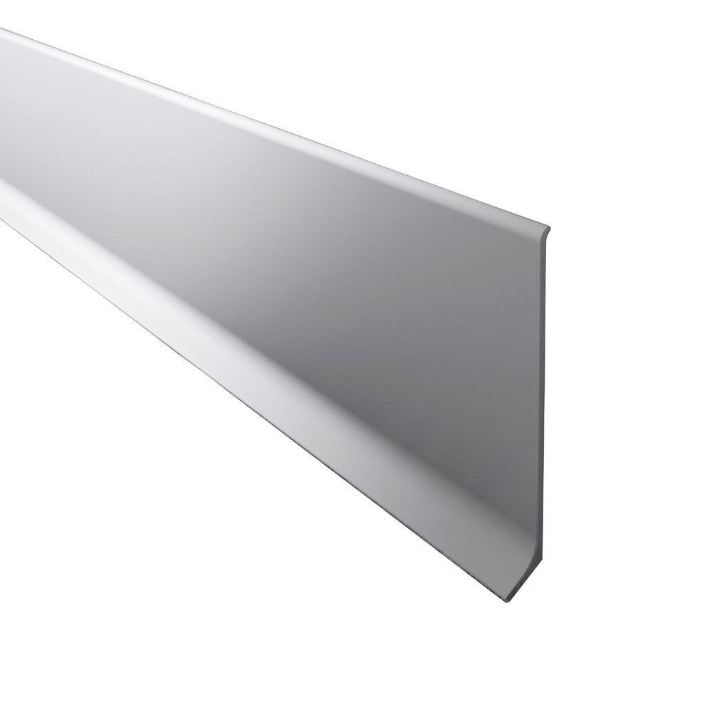 Novorodapie L Matt Silver 4 in. x 98-1/2 in. Aluminum Baseboard