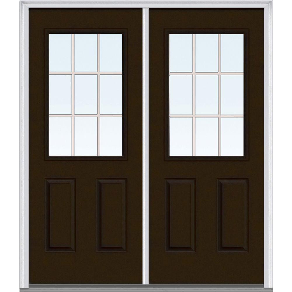 Mmi Door 64 In X 80 In Grilles Between Glass Right Hand 1 2 Lite 2 Panel Classic Painted Steel