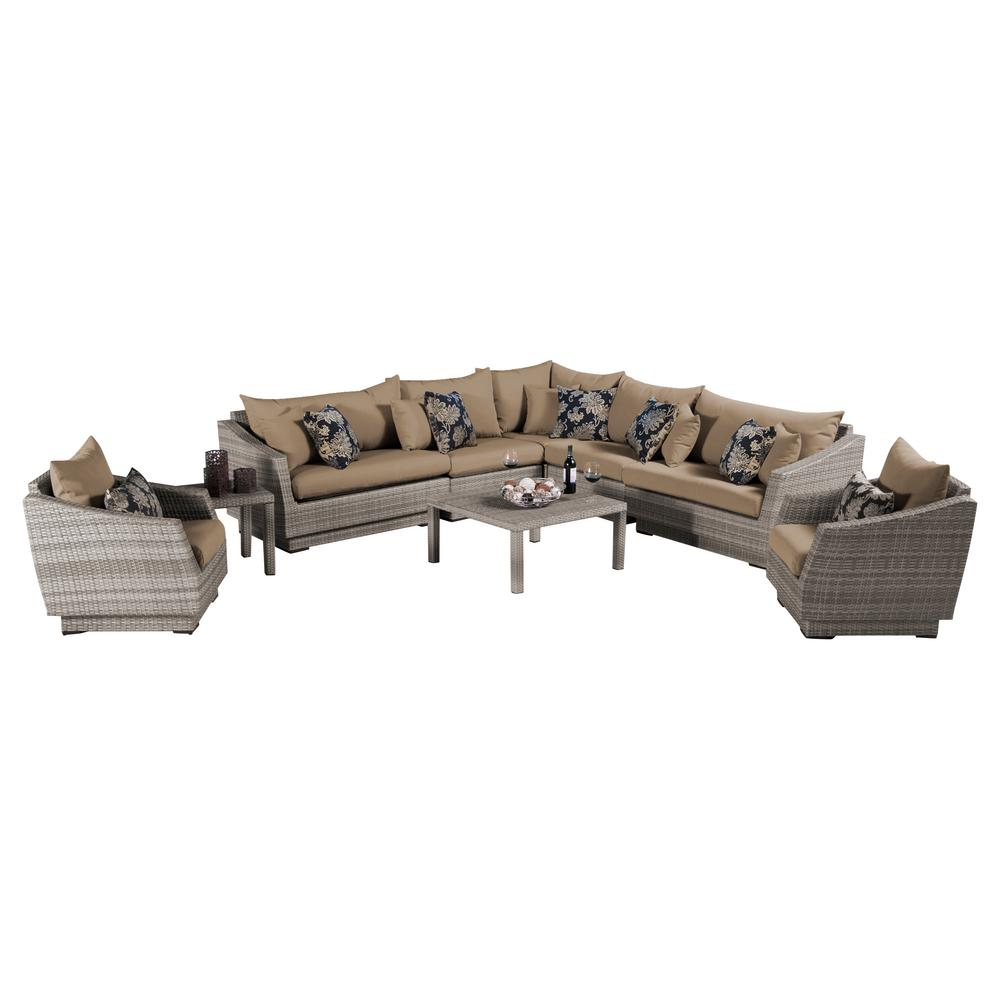RST Brands Cannes 9-Piece Patio Corner Sectional and Club Chair Seating Group Set with Delano Beige Cushions