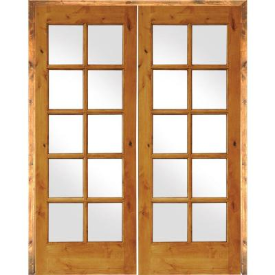 48 in. x 80 in. Rustic Knotty Alder 10-Lite Both Active Solid Core Wood Double Prehung Interior Door
