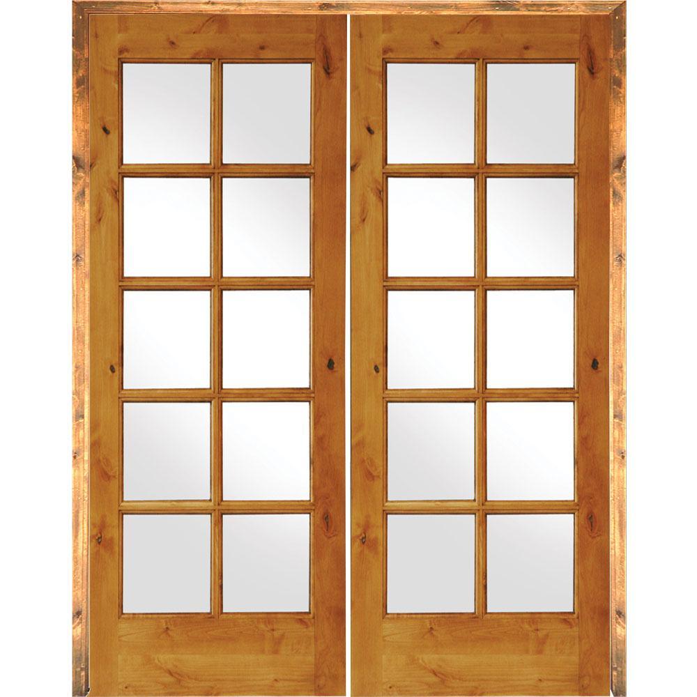 48 in. x 80 in. Rustic Knotty Alder 10-Lite Both Active Solid Core Wood Double Prehung Interior Door