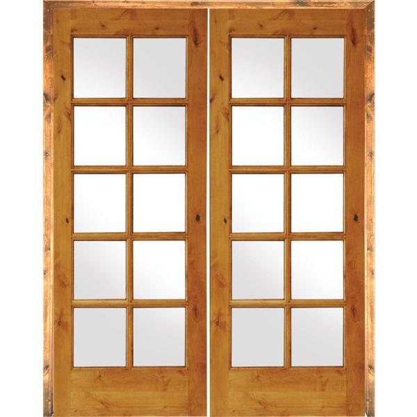 56 in. x 80 in. Rustic Knotty Alder 10-Lite Right Handed Solid Core Wood Double Prehung Interior Door