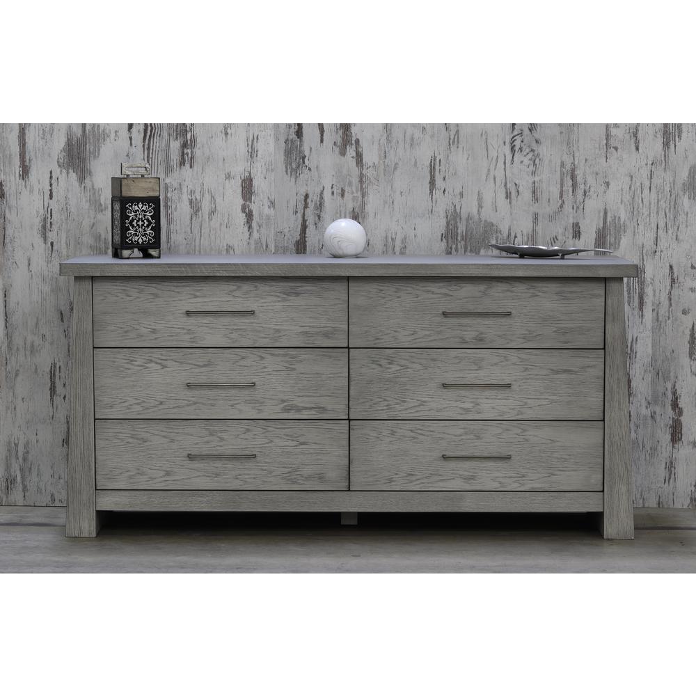Fusion 6-Drawer Driftwood Dresser