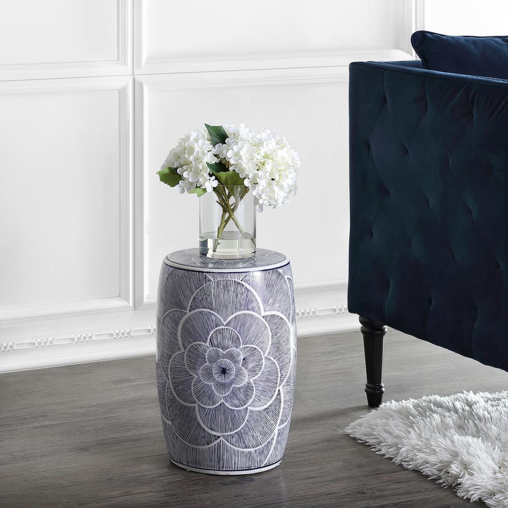 Camellia 17 in. Blue Ceramic Drum Garden Stool