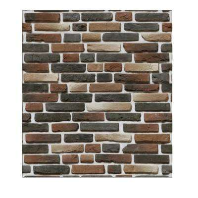 Falkirk Jura 3/10 in. x 28 in. x 30 in. Dark Red Charcoal Brown Faux Bricks PE Foam Peel-and-Stick Wall Panel (5-Pack)