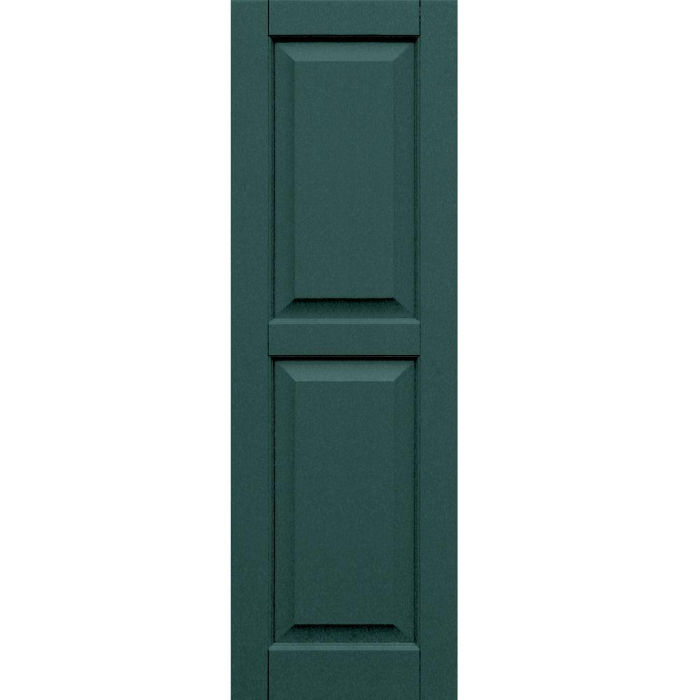 Winworks Wood Composite 15 in. x 47 in. Raised Panel Shutters Pair #633 Forest Green