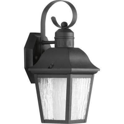 Andover Collection 1-Light 13.4 in. Outdoor Black Wall Lantern Sconce