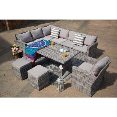 Keiran 6-Piece Wicker Patio Conversation Set with Grey Cushions
