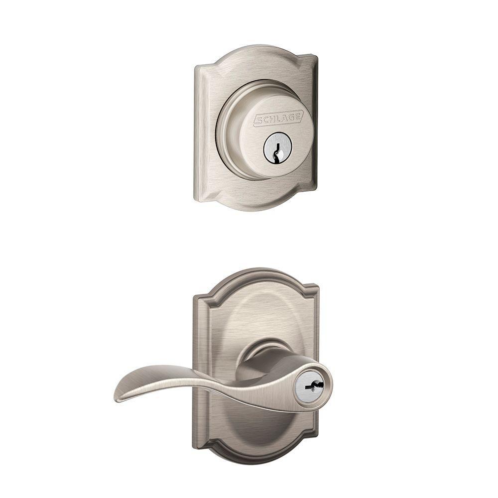 Schlage Accent Single Cylinder Satin Nickel Camelot Trim Decorative Security Set Lever by Schlage