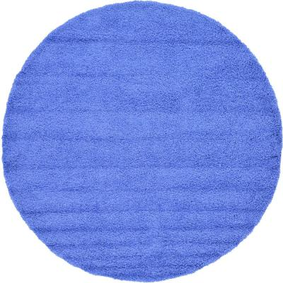 Solid Shag Periwinkle Blue 8 ft. Round Area Rug