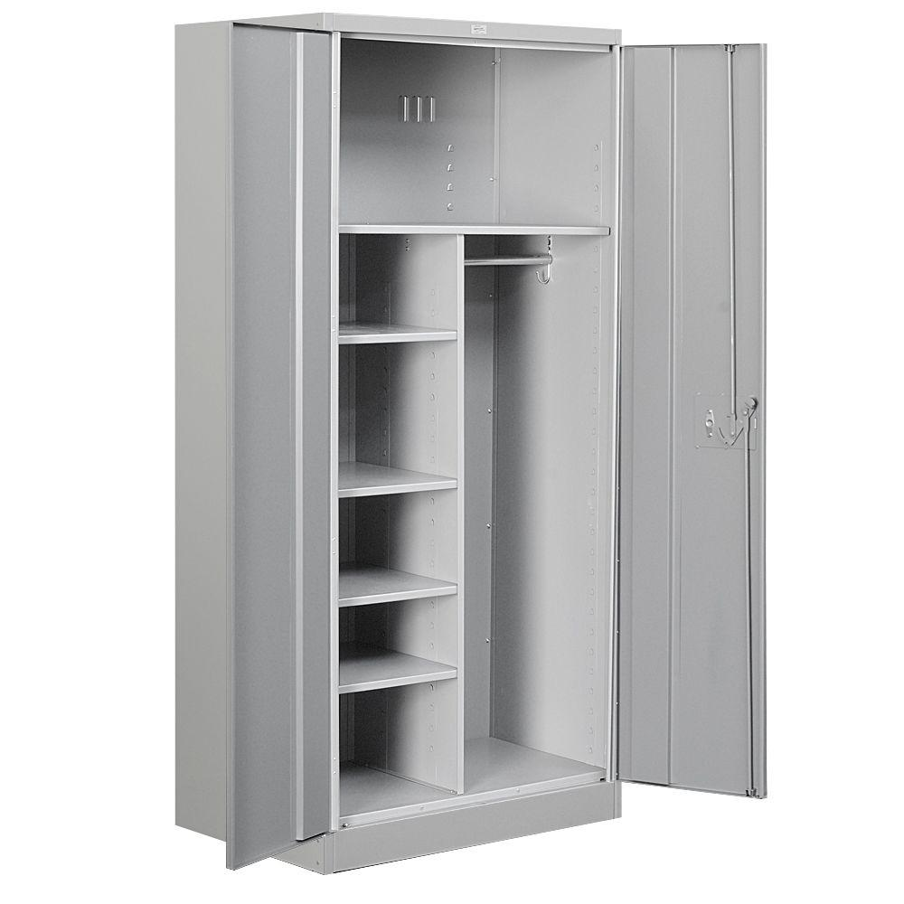 Salsbury Industries 36 In W X 78 H 24 D Combination Heavy Duty Storage Cabinet Embled Gray 8274gry A The Home Depot