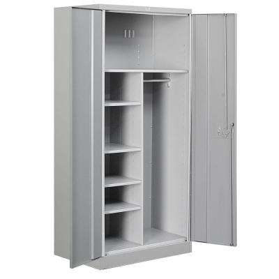 36 in. W x 78 in. H x 24 in. D Combination Heavy Duty Storage Cabinet Assembled in Gray