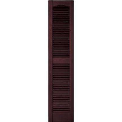 12 in. x 55 in. Louvered Vinyl Exterior Shutters Pair in #167 Bordeaux