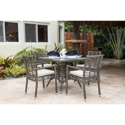 Panama Jack Graphite Gray 5-Piece Wicker Outdoor Dining Set with Off-White Cushions