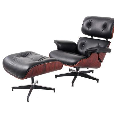 Black Leather Swivel with Ottoman Set Lounge Arm Chair