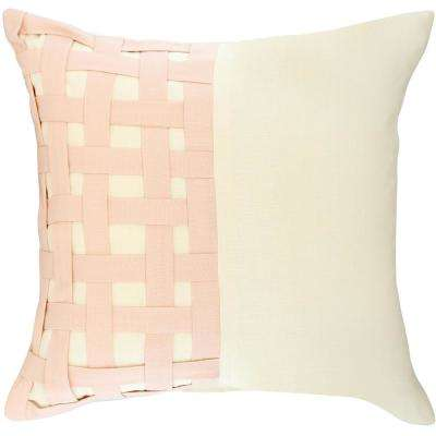 American Colors Ivory and Rose Blush  basketweave pillow