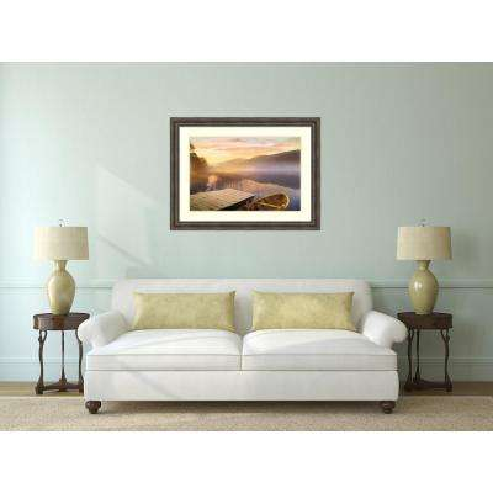 "49 in. W x 37 in. H ""Morning on the Lake"" by Steve Hunkiker Framed Art Print"