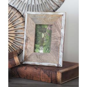 1-Opening 8 inch x 10 in H Natural Brown and White Picture Frame by