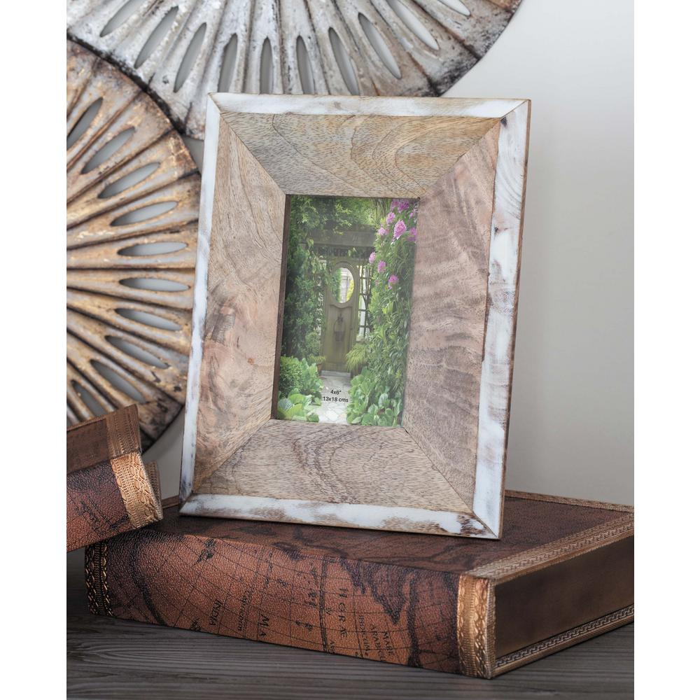 1-Opening 8 in. x 10 in H Natural Brown and White Picture Frame ...
