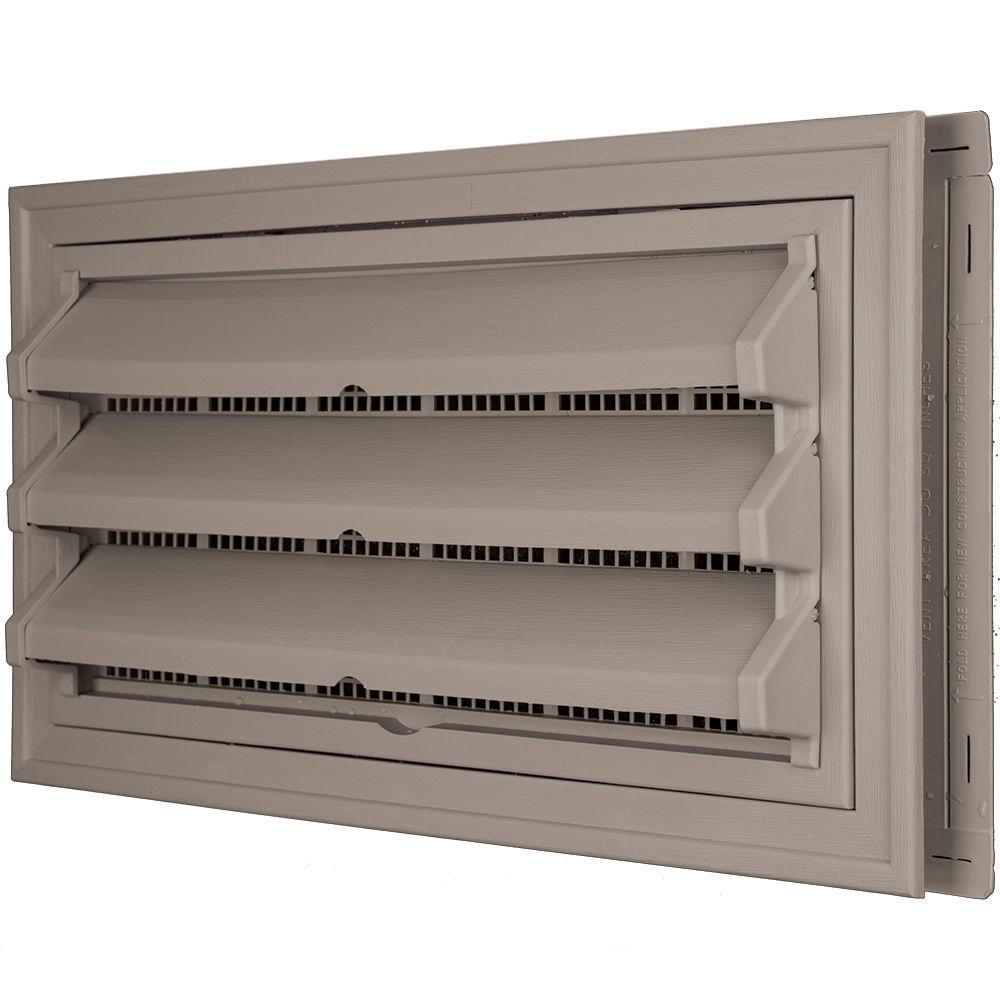 Builders Edge 9-3/8 in. x 17-1/2 in. Foundation Vent Kit with Trim Ring and Optional Fixed Louvers (Molded Screen) in #008 Clay