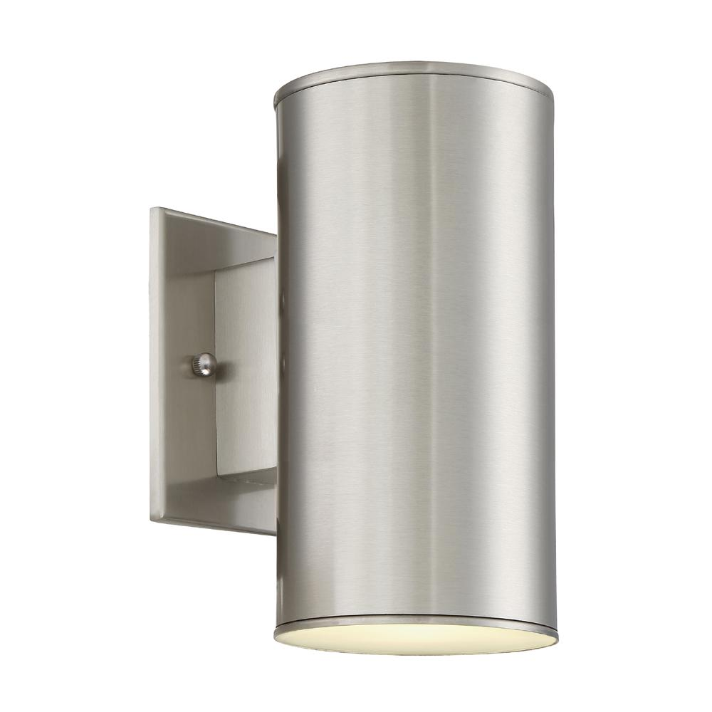 Barrow 11-Watt Satin Platinum Outdoor Integrated LED Wall Mount Lantern