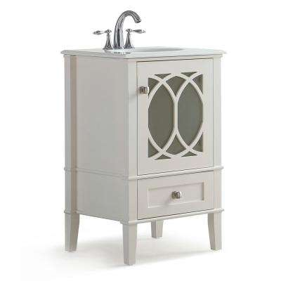 Paige 20 in. Bath Vanity in Soft White with Engineered Quartz Marble Vanity Top in White with White Basin