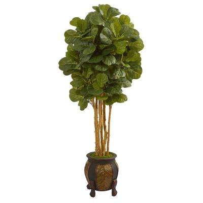5.5 ft. High Indoor Fiddle Leaf Artificial Tree in Decorative Planter