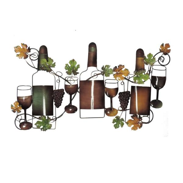 Benzara Classy Metal Multi-Color Based Wine Wall Decor BM05388
