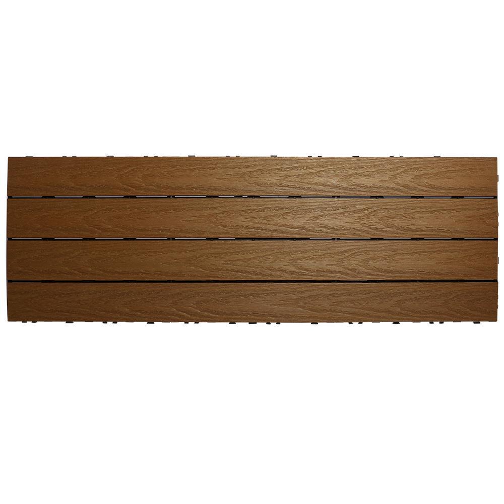NewTechWood UltraShield Naturale 1 ft. x 3 ft. Quick Deck Outdoor Composite Deck Tile in Peruvian Teak (15 sq. ft. Per Box)