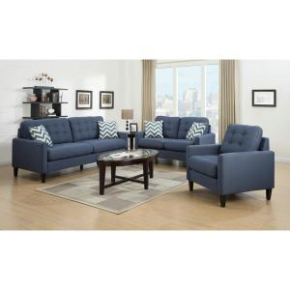Hamilton Mid-Century Modern Linen-Look Tufted Sofa in Blue by