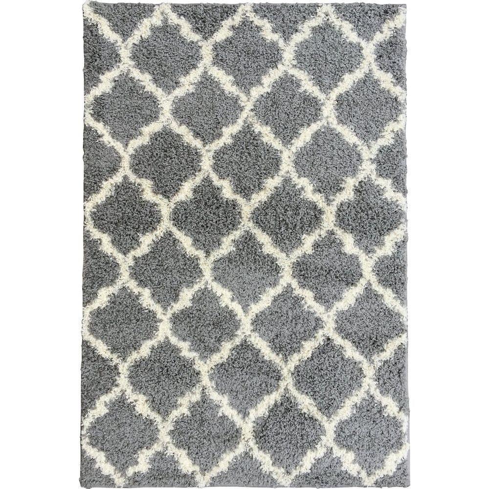 fff9d5c834149 Berrnour Home Plush Moroccan Trellis Design Grey 5 ft. x 7 ft. Shag ...