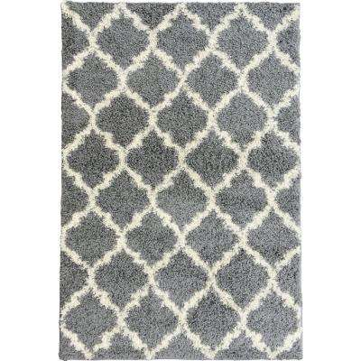 Plush Moroccan Trellis Design Grey 5 ft. x 7 ft. Shag Area Rug