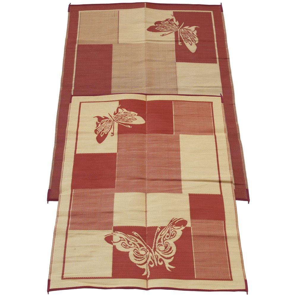 Fireside Patio Mats Elegant Butterfly Burgundy And Coral 6