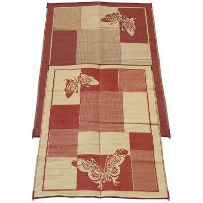 Elegant Butterfly Burgundy and Coral 6 ft. x 9 ft. Polypropylene Indoor/Outdoor Reversible Patio/RV Mat
