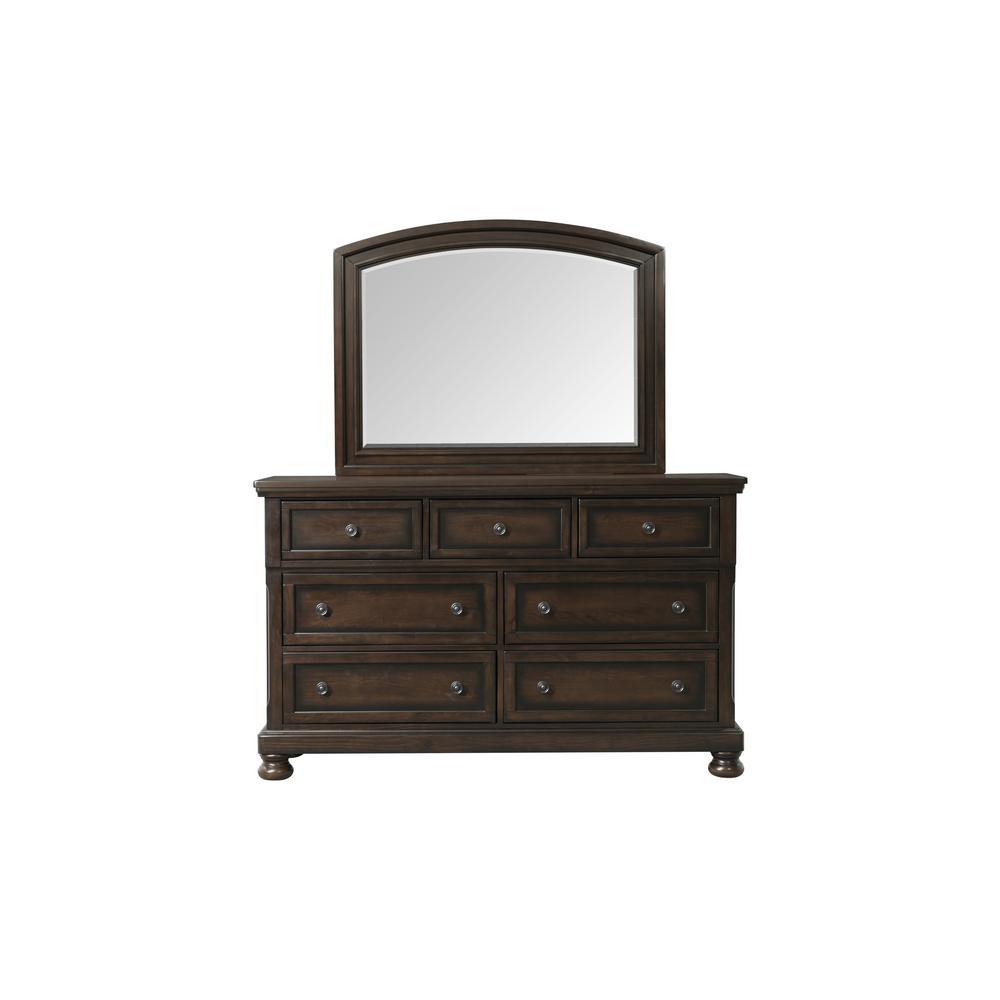 Kingsley Walnut Dresser and Mirror Set