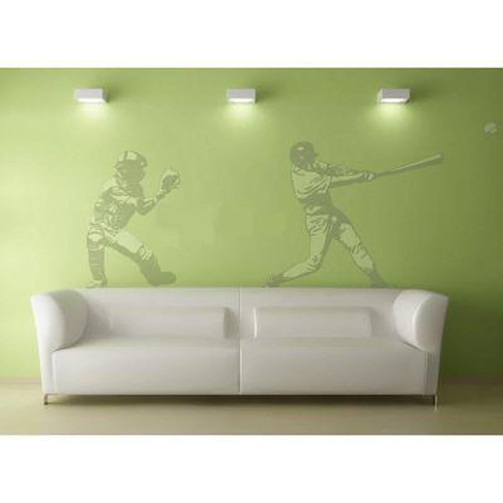 Sudden Shadows 68 in. x 82 in. Action Baseball 2-Piece Wall Decal