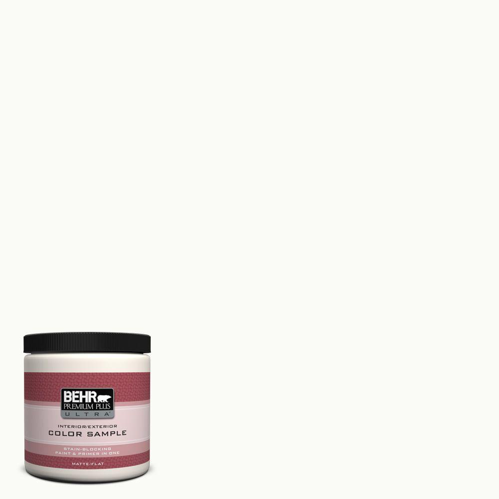 BEHR Premium Plus Ultra 8 oz. #PPU18-06 Ultra Pure White Matte Interior/Exterior Paint and Primer in One Sample