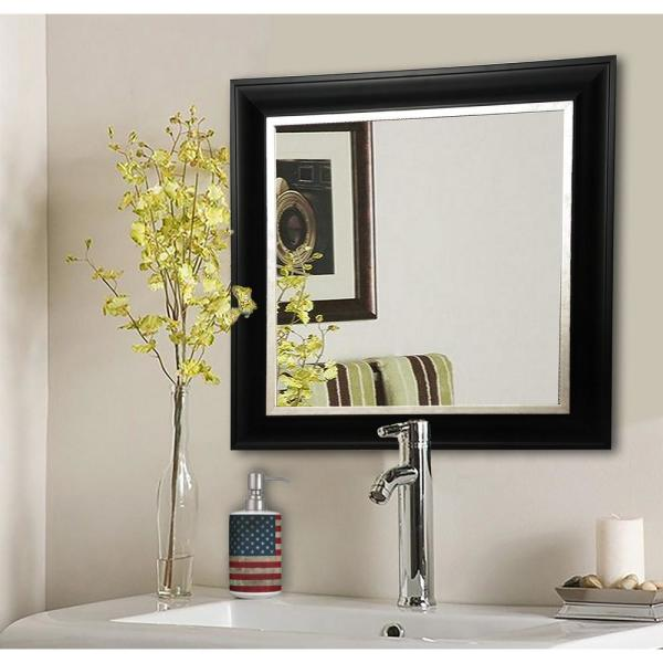 30.5 in. x 30.5 in. Grand Black and Aged Silver Square Vanity Wall Mirror