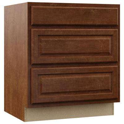 Hampton Assembled 30x34.5x24 in. Pots and Pans Drawer Base Kitchen Cabinet in Cognac