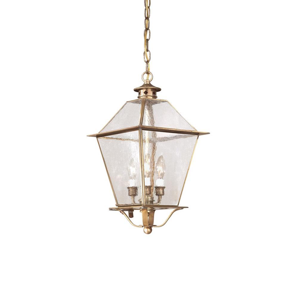 Troy lighting montgomery 3 light natural aged brass for Early american outdoor lighting